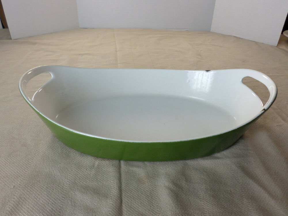Copco Cast Iron Green White Enamel Casserole Baking Pan