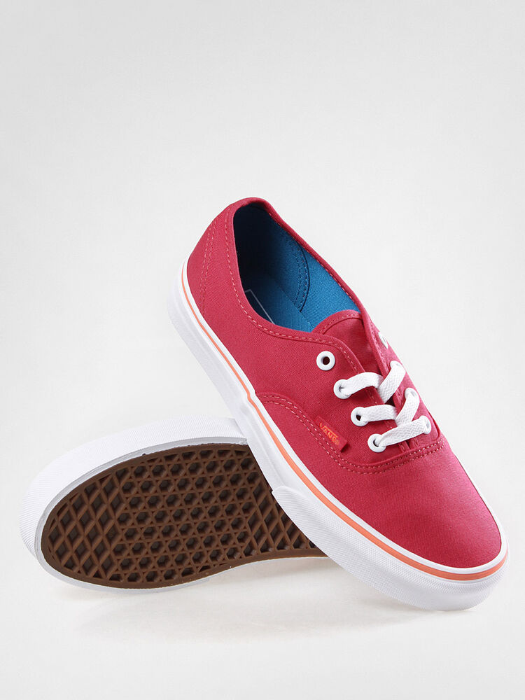 Perfect Vans Authentic Neon Pink Leather Womens Sneaker Trainers Shoes Size 3