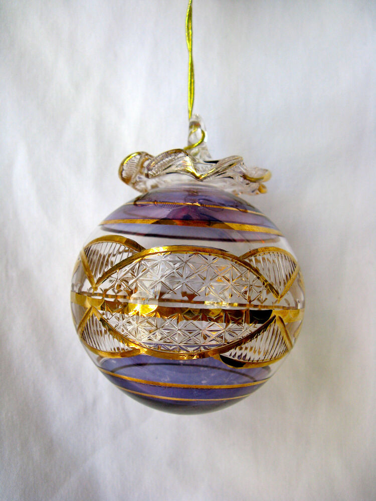 Egyptian Handmade Gold Accent Ball Glass Christmas