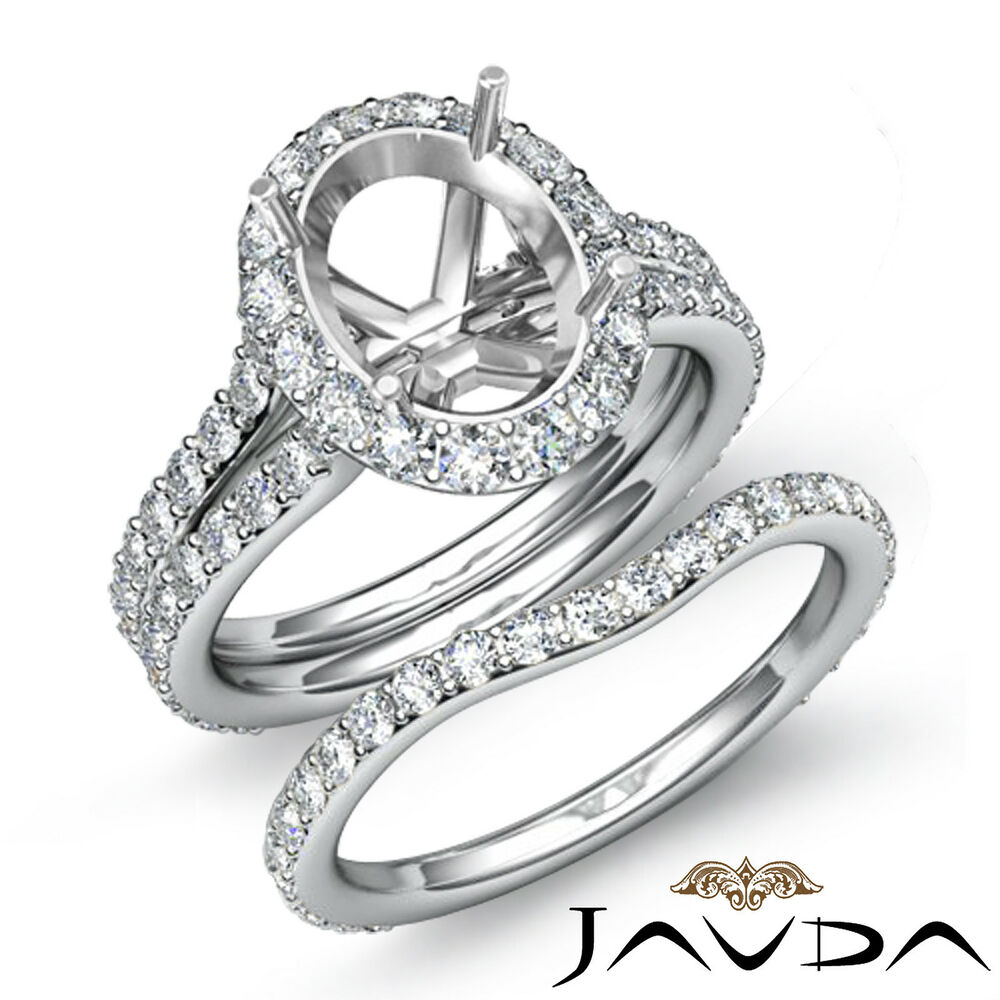 wedding engagement ring sets oval halo semi mount engagement wedding ring 9442