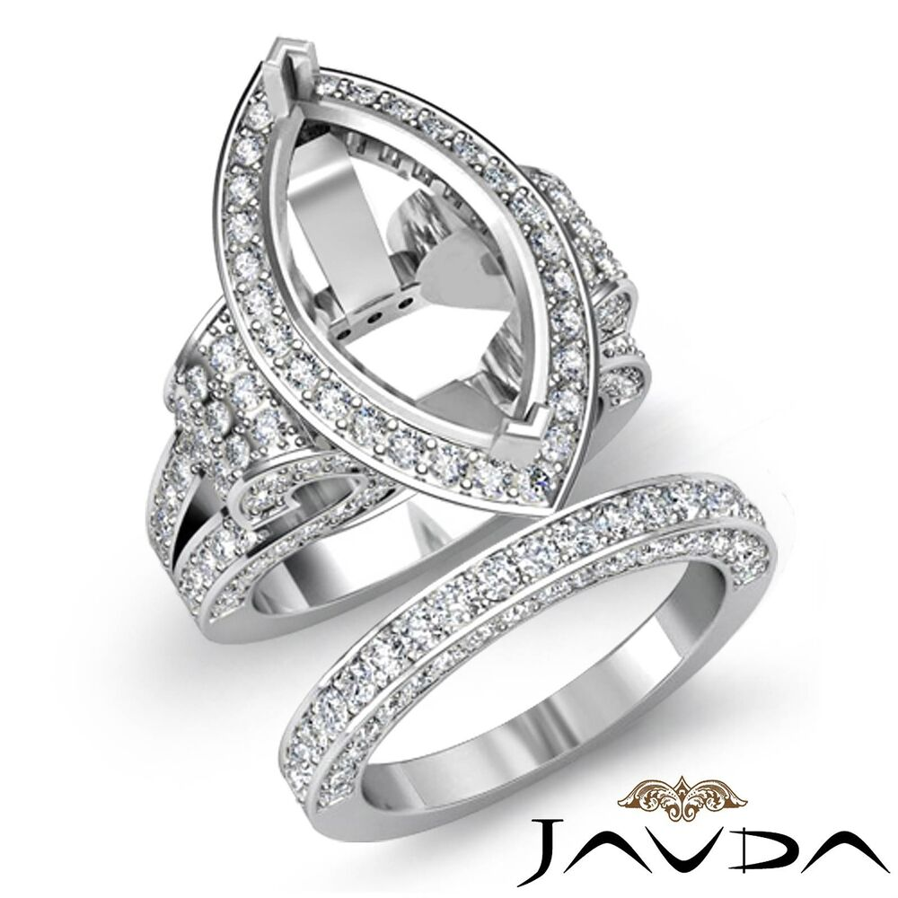 Diamond Engagement Ring Marquise Bridal Sets 14k Gold