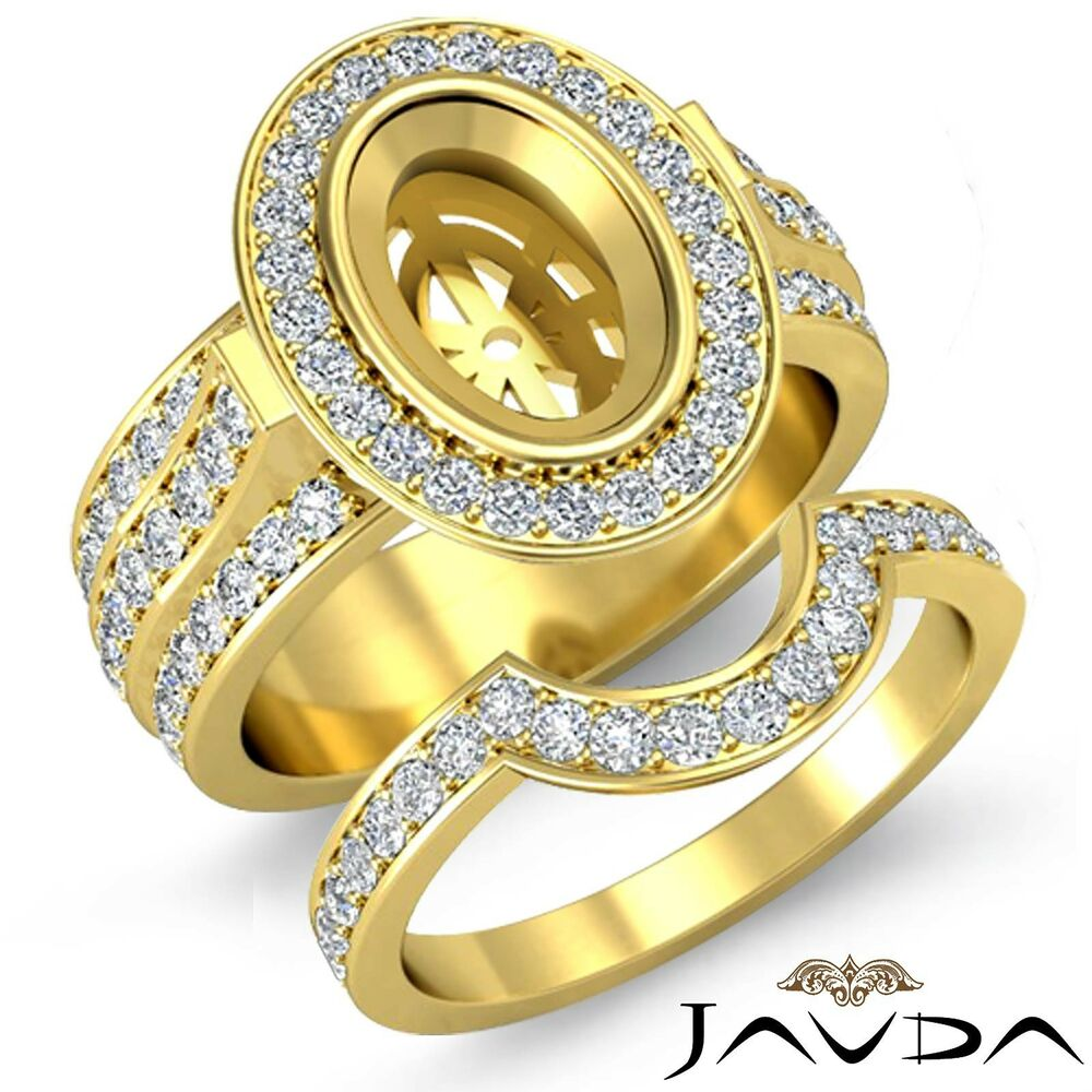 Diamond Engagement Pave Ring Bridal Sets 14k Gold Yellow