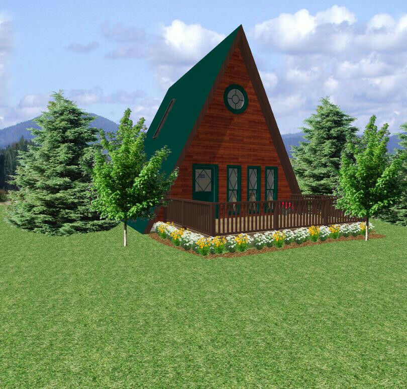 House plans small retirement a frame cabin 24 x 24 with for A frame house blueprints
