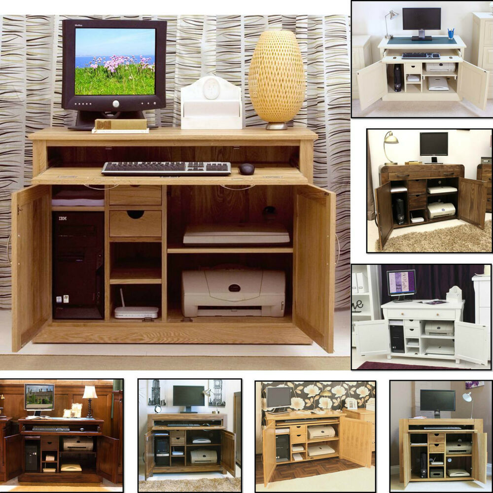 Hidden Printer Cabinet Computer Desk Hideaway Hidden Home Office Study Pc Laptop Modern