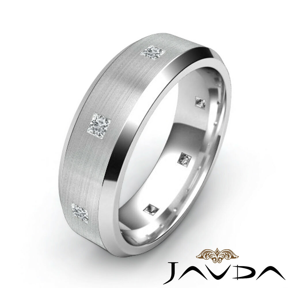White Gold Bands: Princess Diamond Eternity Ring 18k White Gold Mens Brushed