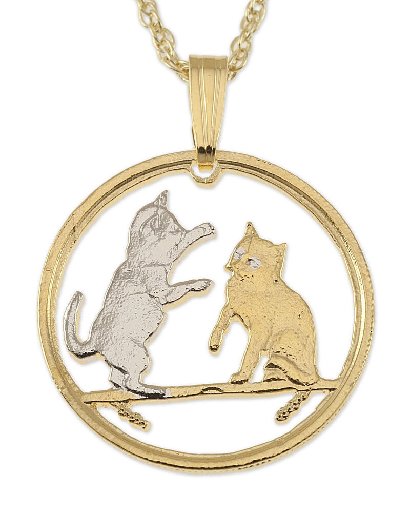 isle of man cat coin necklace