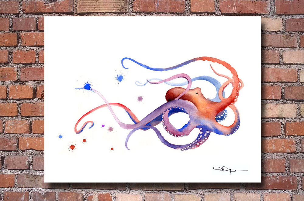 Octopus art print watercolor painting colorful vibrant for Colorful octopus painting