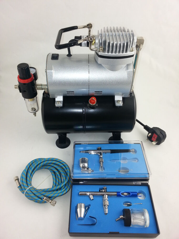 airbrush kit piston compressor with tank two dual action airbrushes new ebay. Black Bedroom Furniture Sets. Home Design Ideas