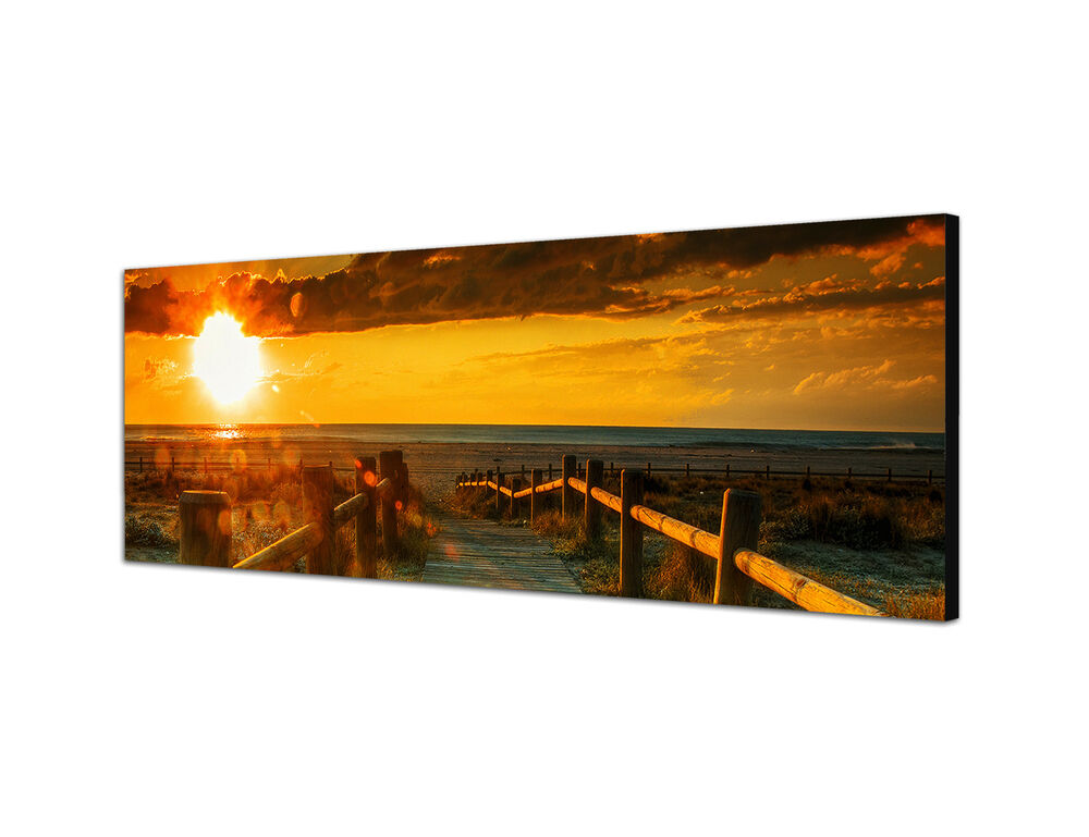 panoramabild 150x50cm keilrahmenbild leinwand sonnenuntergang abendstimmung ebay. Black Bedroom Furniture Sets. Home Design Ideas