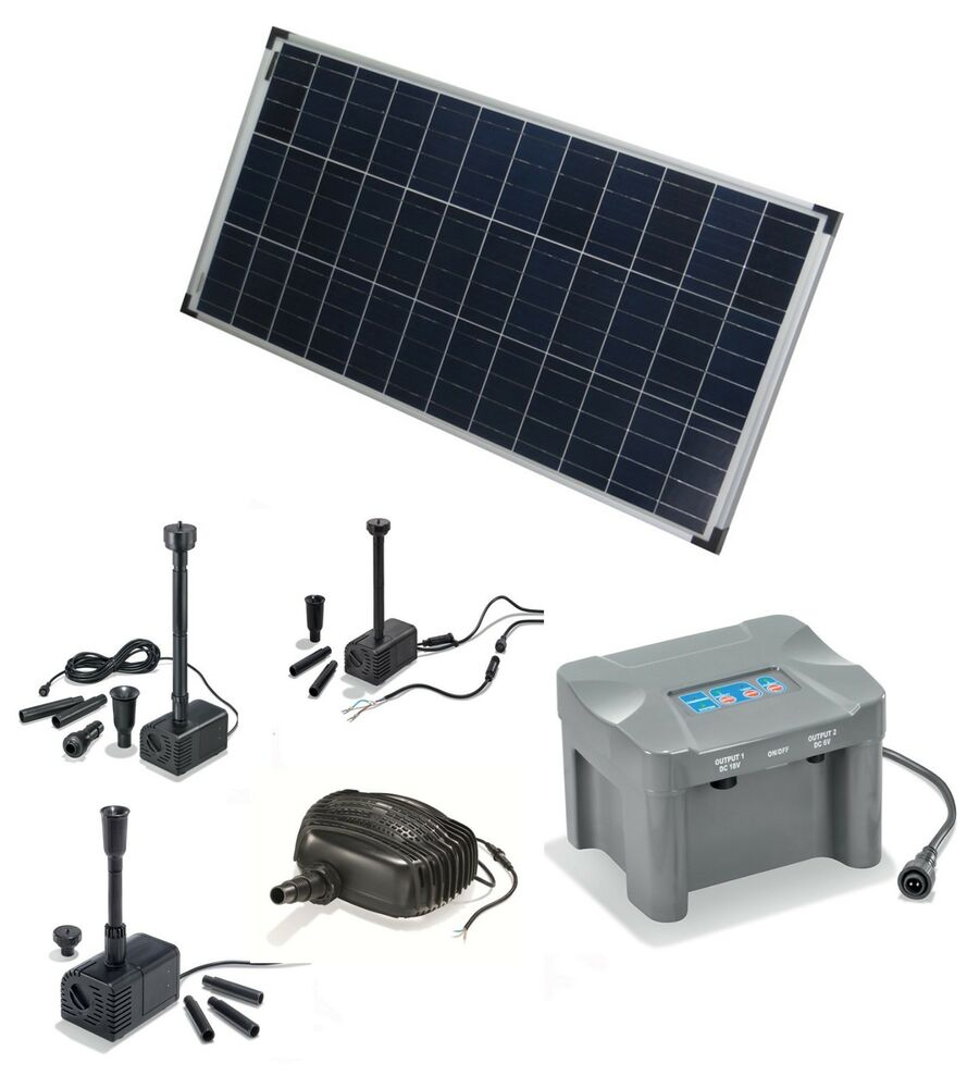 80 watt solarpumpe mit akku batterie solar teichpumpe gartenteichpumpe pumpe ebay. Black Bedroom Furniture Sets. Home Design Ideas