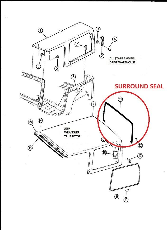 jeep wrangler yj replacement factory hard top liftgate lift gate seal 1987 95 ebay. Black Bedroom Furniture Sets. Home Design Ideas
