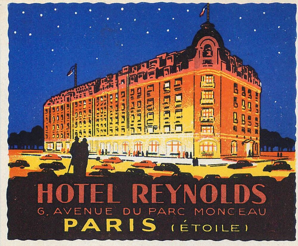 paris france hotel reynolds vintage art deco luggage label. Black Bedroom Furniture Sets. Home Design Ideas