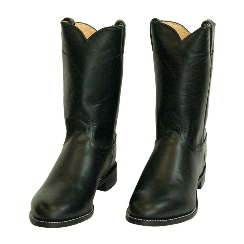 brand new mens black leather roper cowboy boots by justin