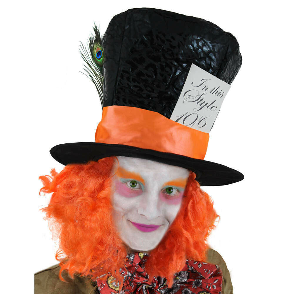 bea886ee985 Details about MAD HATTER TOP HAT WITH HAIR BOOK WEEK CHARACTER FANCY DRESS COSTUME  ACCESSORY