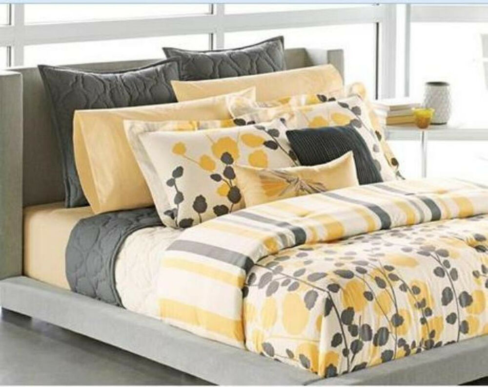 Twin apt 9 ivy yellow gray cream floral sham for Grey and yellow bedroom