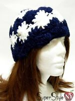 Navy Blue & White Striped Flower  Knitted Beanie Ski Hat Beret