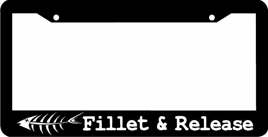 Fillet And Release Funny Fishing License Plate Frame Ebay