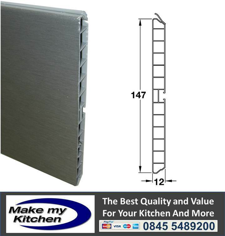 Stainless steel coated pvc kitchen unit plinth trim kick for Kitchen units without plinths