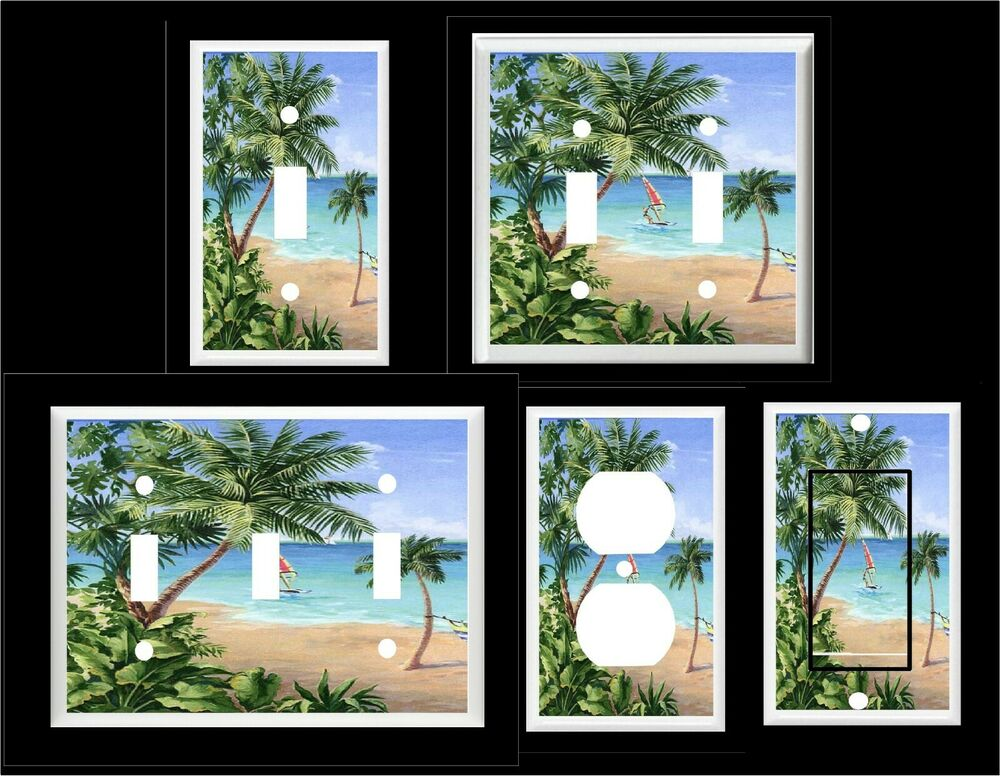 Palm tree tropical beach 10 home decor light switch for Palm tree decorations for the home