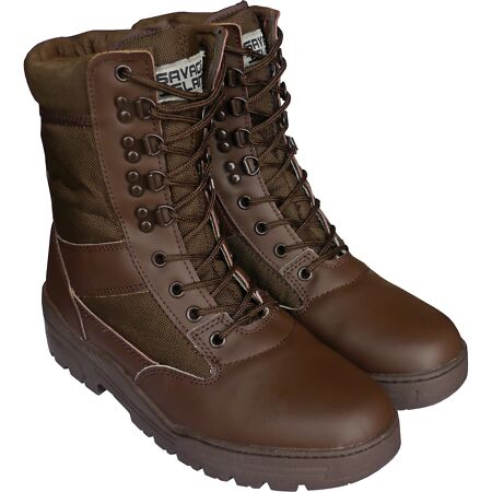 img-Brown Army Leather Combat Patrol Boots Cadet Military Work Security 905