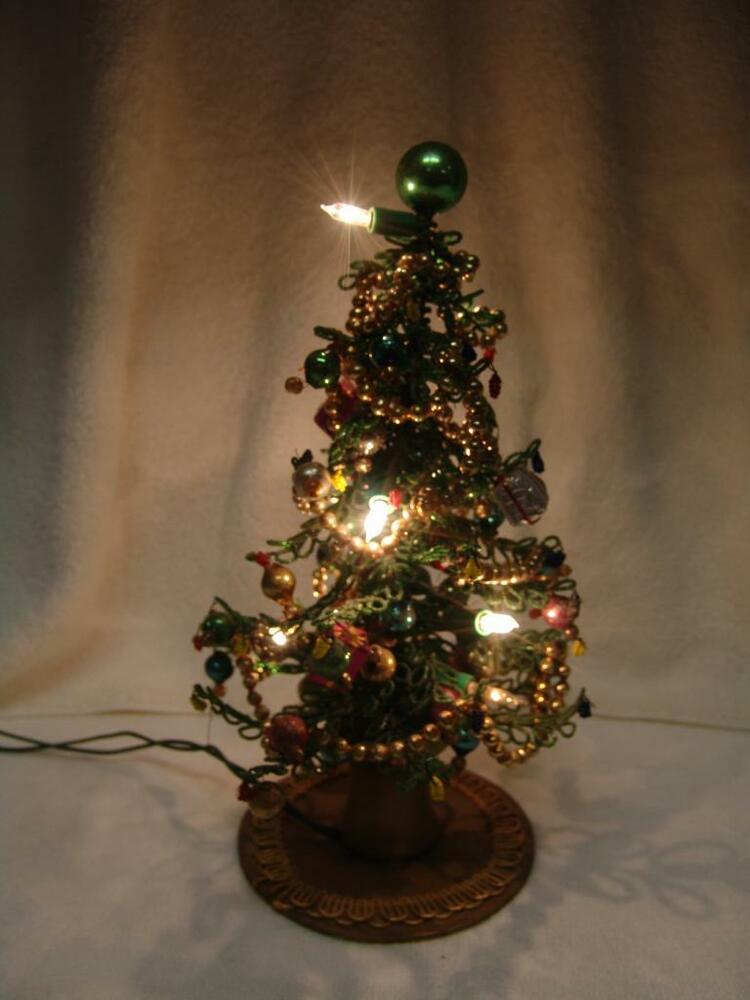 Vintage christmas tree quot tall all beaded w mercury