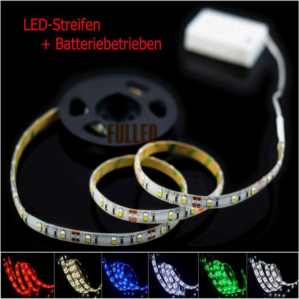 led leiste streifen band 100cm batterie box schalter licht batteriebetrieben ebay. Black Bedroom Furniture Sets. Home Design Ideas