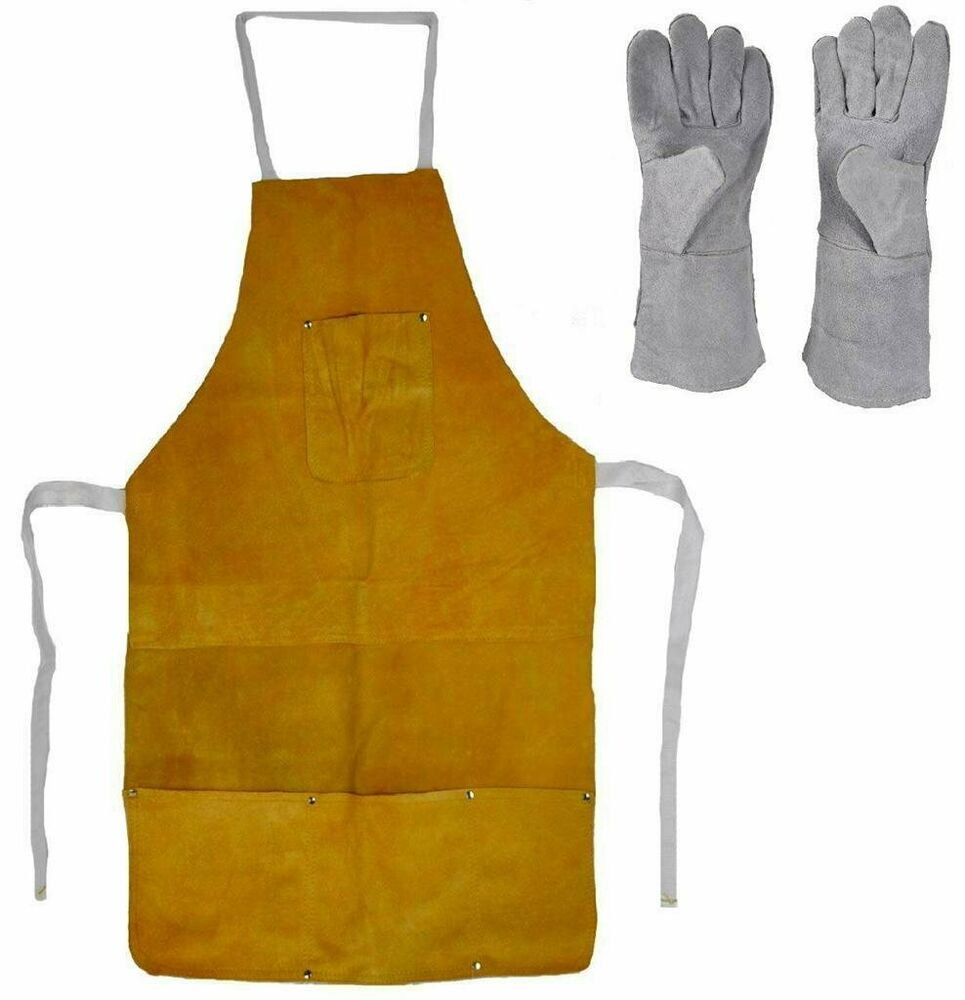 Leather Heat Resistant Safety Apron Glove Set Melting