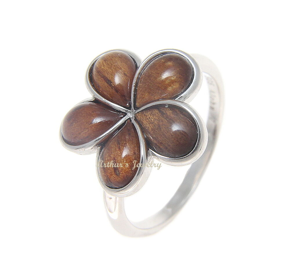Genuine Hawaiian Koa Wood Plumeria Flower Ring 15mm