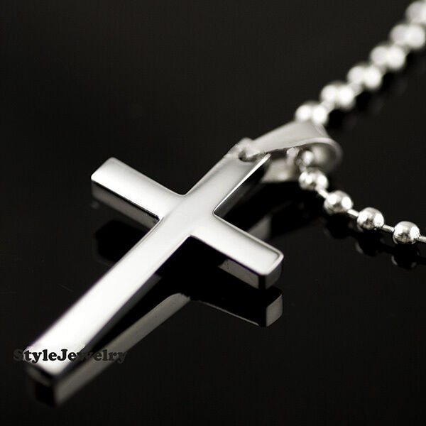 titanium mens silver cross pendant with chain necklace. Black Bedroom Furniture Sets. Home Design Ideas