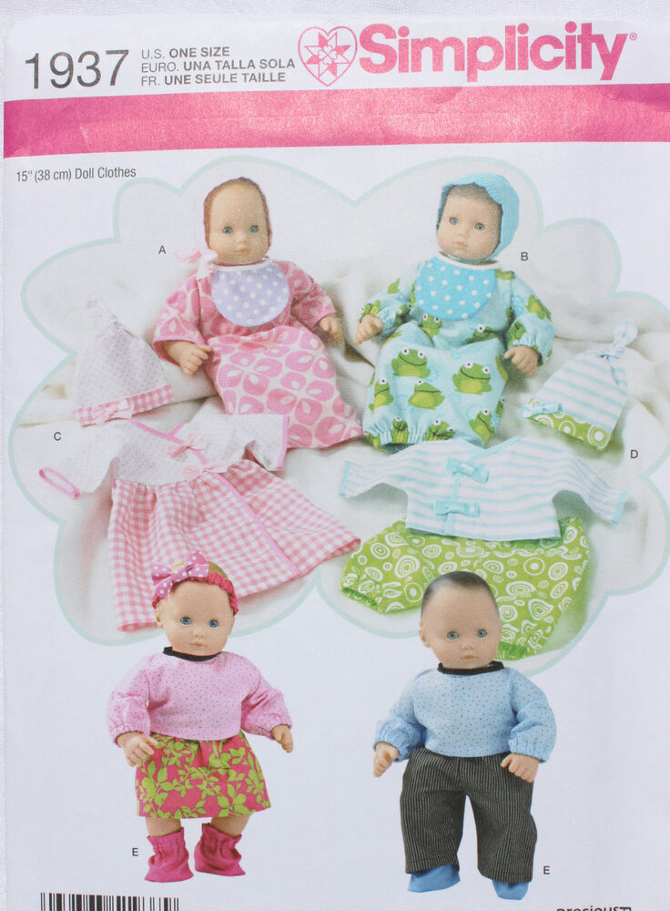 "15"" BABY DOLL CLOTHES Simplicity Sewing Pattern 1937 NEW ..."