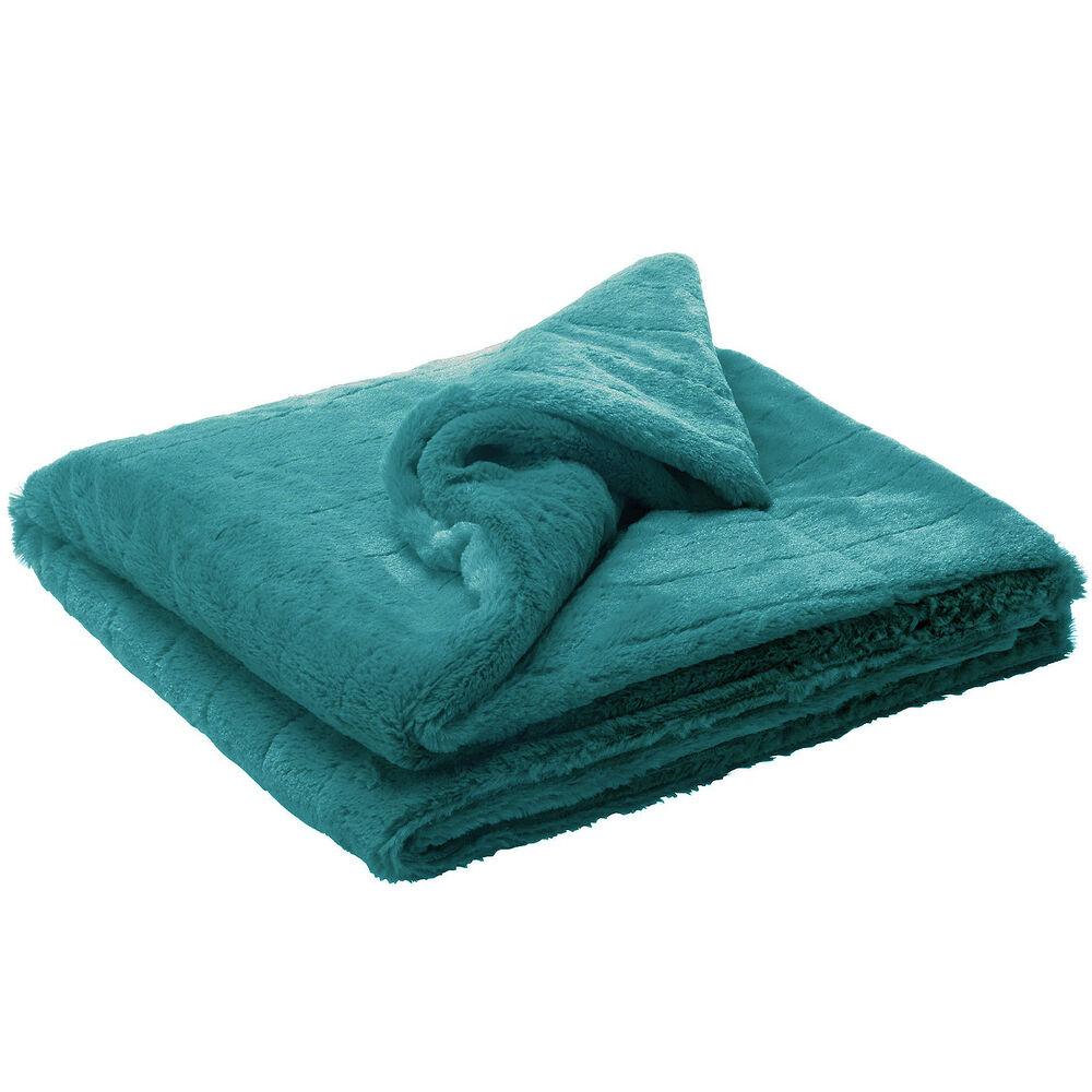 Ribbed Faux Fur Effect Throw Teal Super Soft Warm Bed