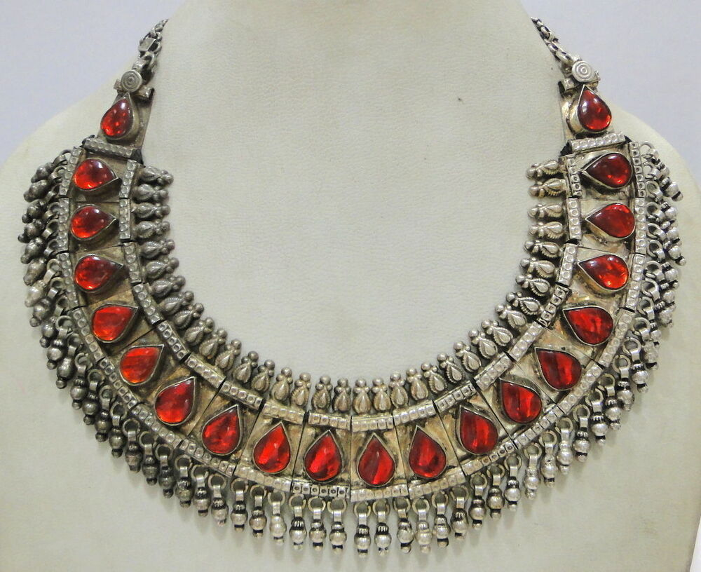 Vintage antique ethnic tribal old silver jewelry Necklace ...