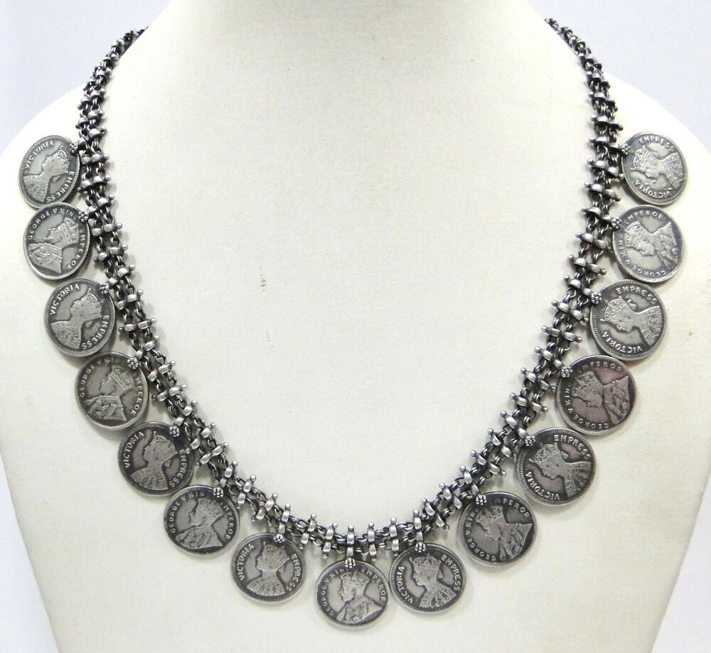 vintage antique ethnic tribal silver jewelry necklace