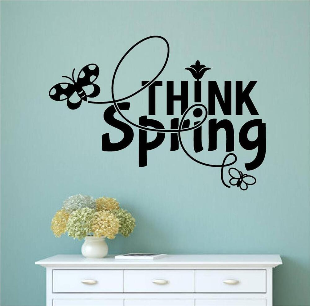 Word Wall Art Vinyl Lettering Home Decor ~ Think spring vinyl decal wall stickers words lettering