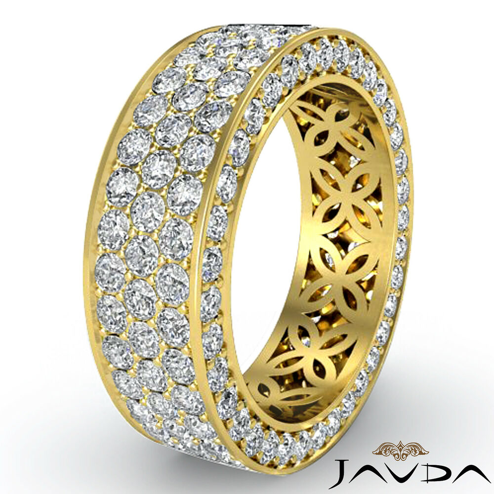 3 row womens anniversary band 14k yellow gold pave. Black Bedroom Furniture Sets. Home Design Ideas