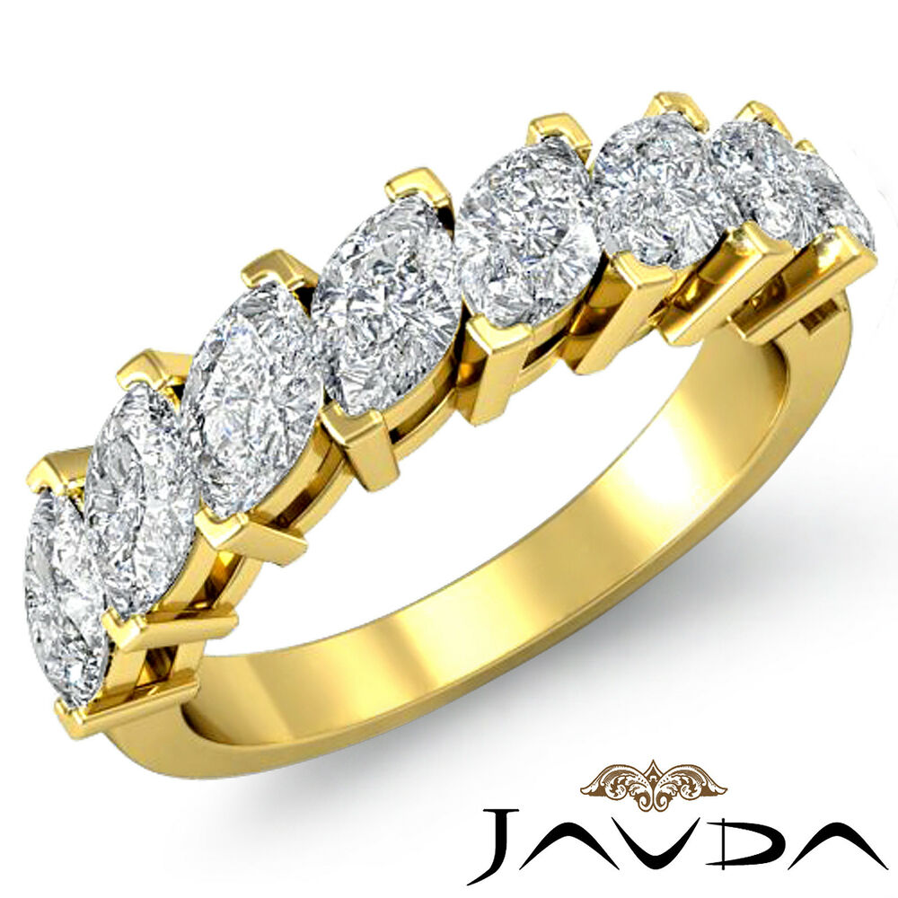 marquise cut prong set diamond half wedding band women ring 18k yellow gold 2ct ebay. Black Bedroom Furniture Sets. Home Design Ideas
