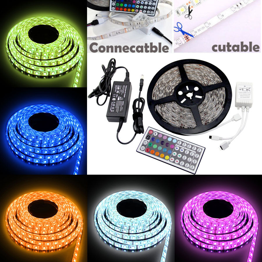 uk 20m 15m 10m 5m led rgb color change strip light kit flexible dimmable home ebay. Black Bedroom Furniture Sets. Home Design Ideas