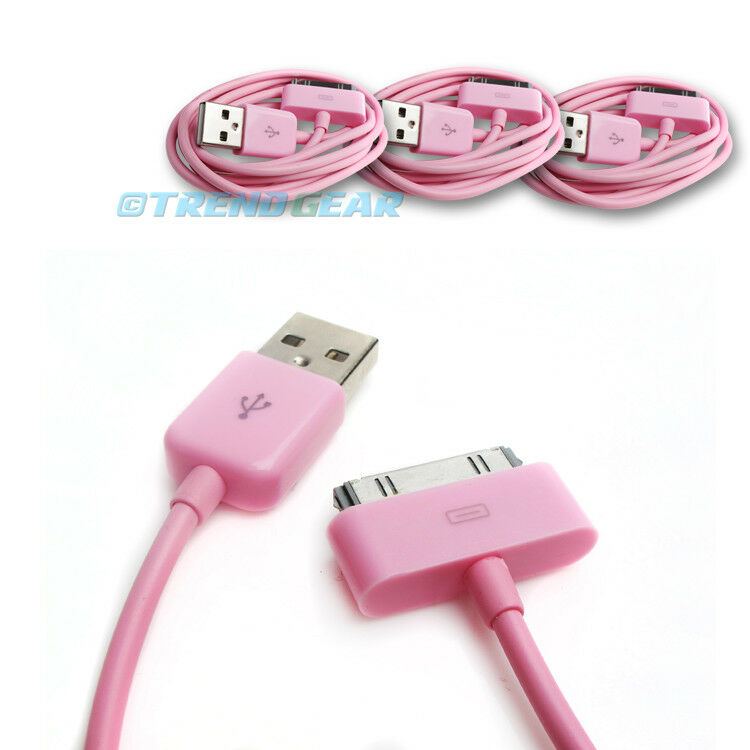 10ft iphone charger 3x 10ft 30 pin usb sync data power charger pink cable 10000