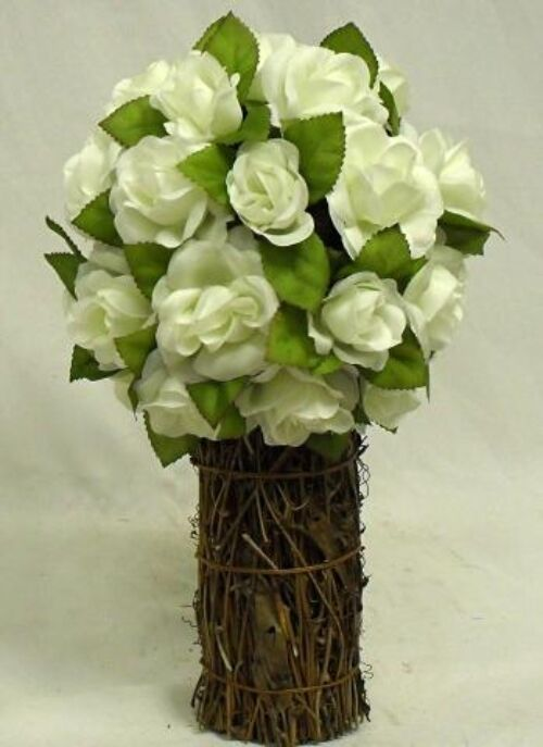Rose Topiary Centerpiece : Cream ivory rose topiary wedding bouquet silk artificial