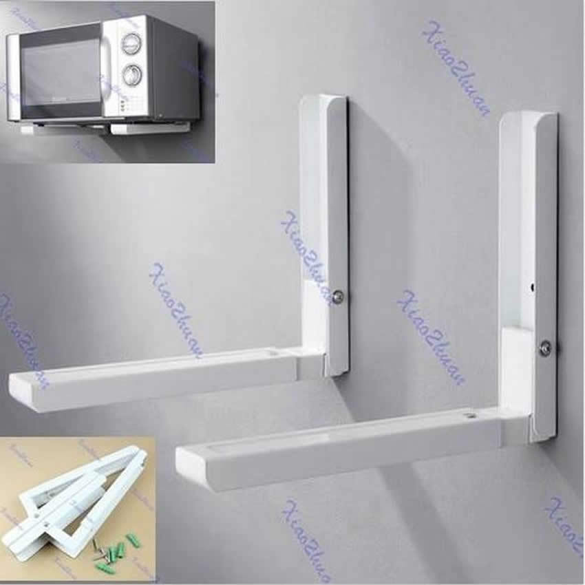 foldable stretch shelf rack for microwave oven wall mount bracket new white ebay. Black Bedroom Furniture Sets. Home Design Ideas