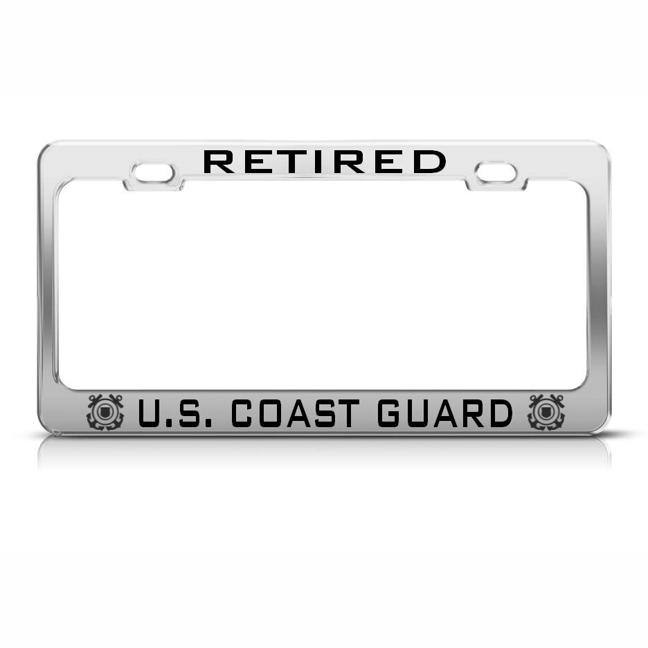 Retired United States Coast Guard Chrome License Plate