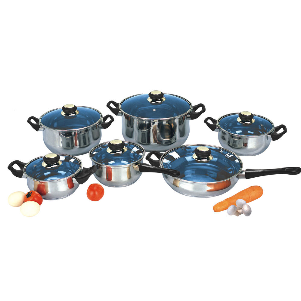 18 10 Stainless Steel Gourmet Chef 12 Piece Covered Cookware Set Pots And Pans Ebay