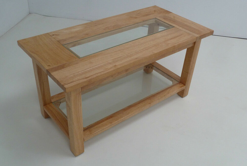 Natural solid wood coffee table with clear glass insert for Solidworks design table zoom