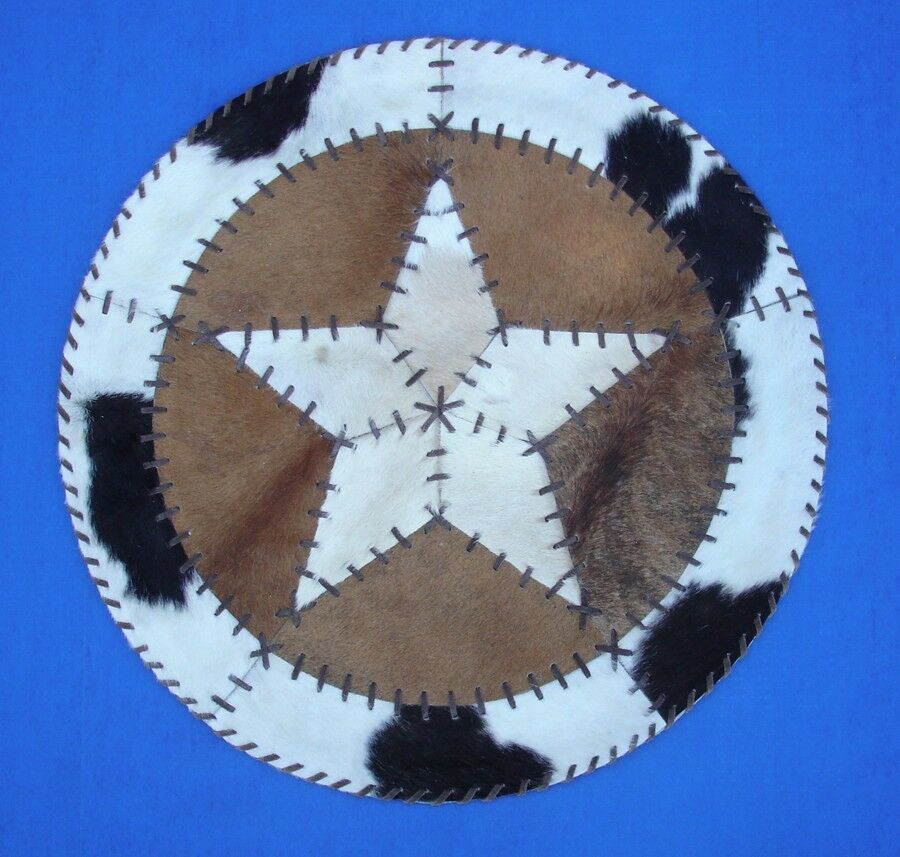 """Western Cabin Lodge Decor Cowhide 27"""" Round Rawhide Laced"""