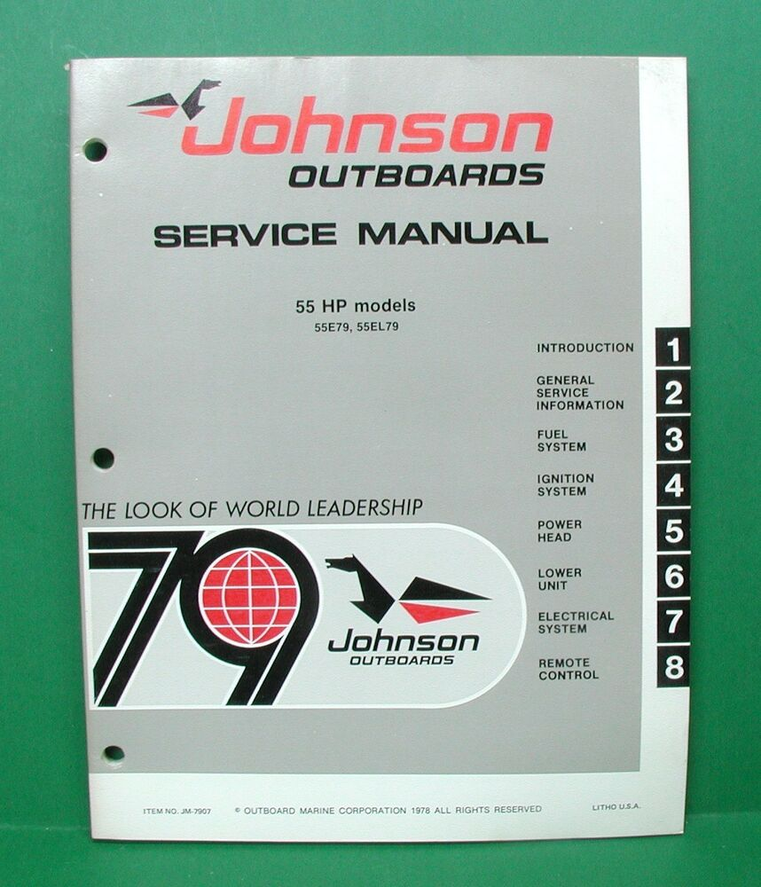 Original 1979 johnson 55 hp outboard factory service for 55 johnson outboard motor