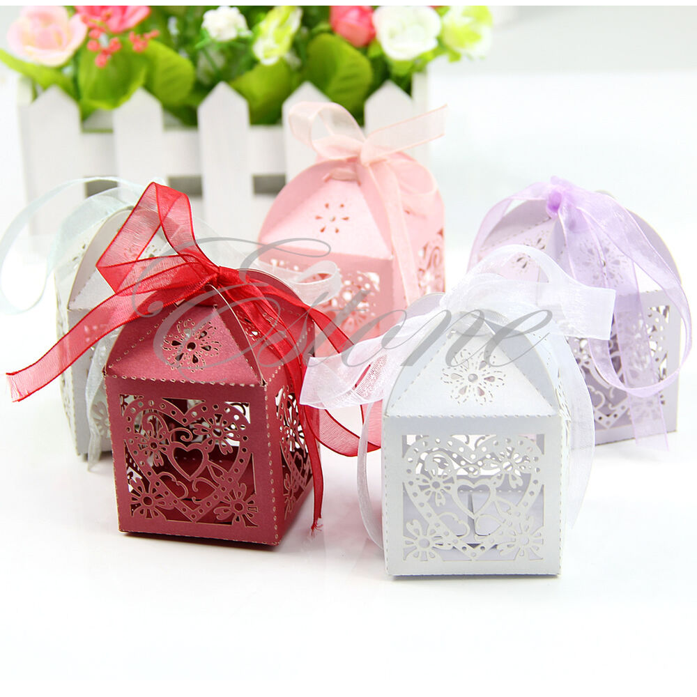 ... Laser Cut Gift Candy Boxes Wedding Party Favor With Ribbon eBay
