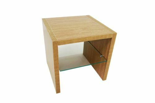 Oak And Glass Table Lamps: MADISON OAK EFFECT END SIDE LAMP TABLE WITH GLASS SHELF