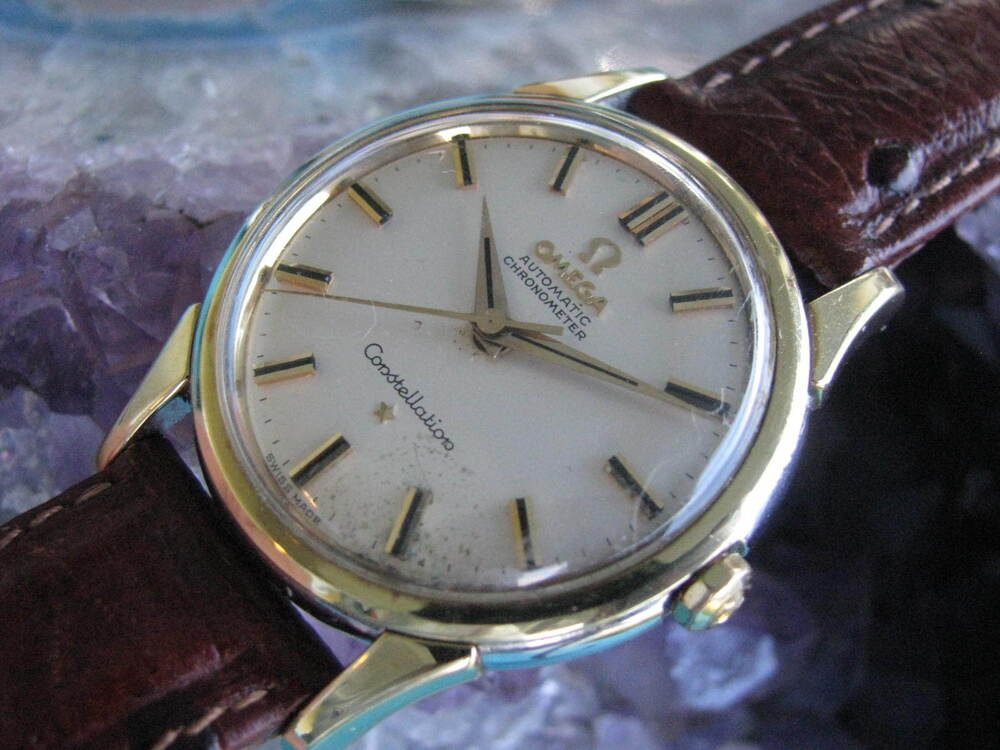 Omega constellation vintage gold on steel automatic wrist watch cal 551 ebay for Omega watch constellation
