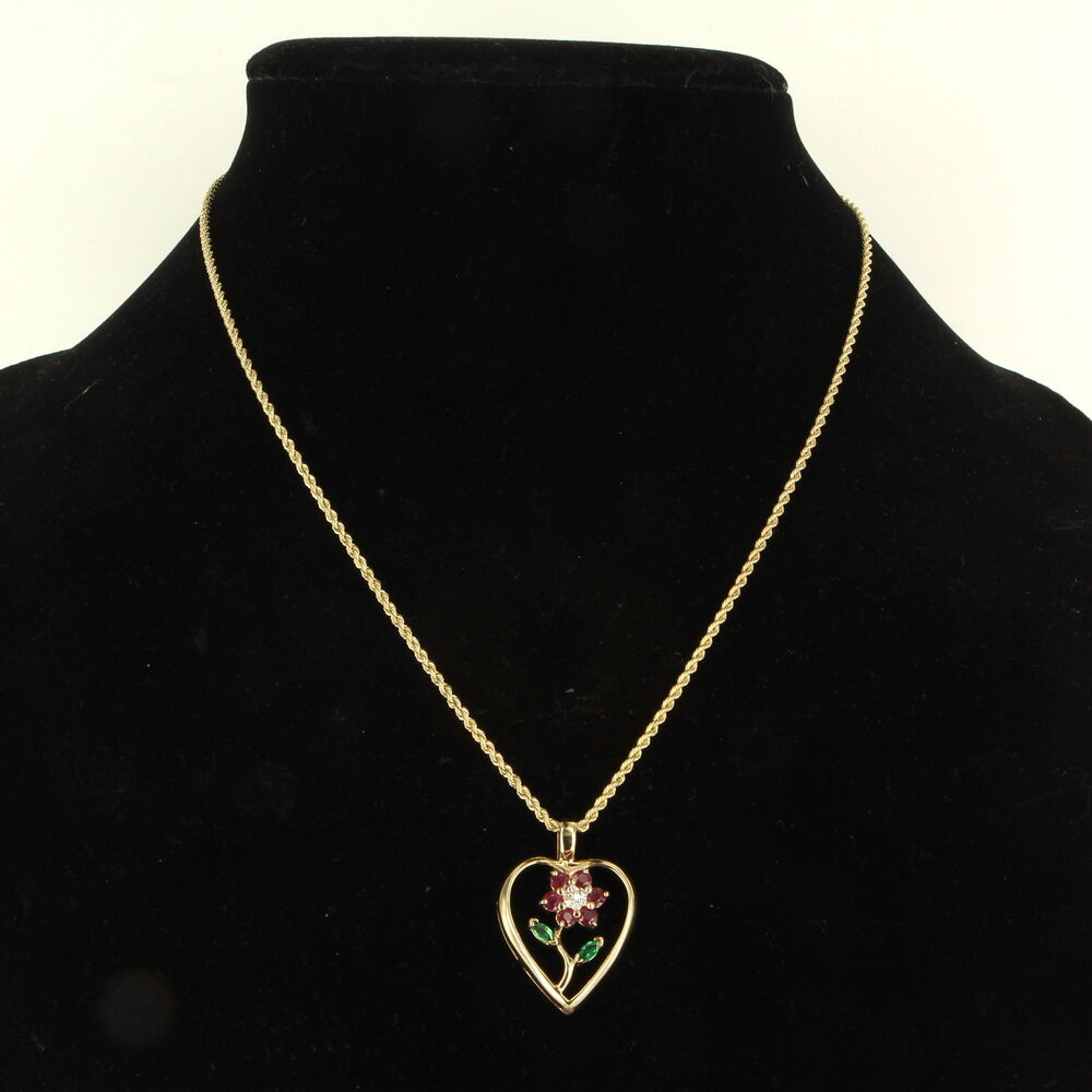 Vintage 14k gold ruby emerald diamond heart flower pendant for Fine jewelry diamond pendants