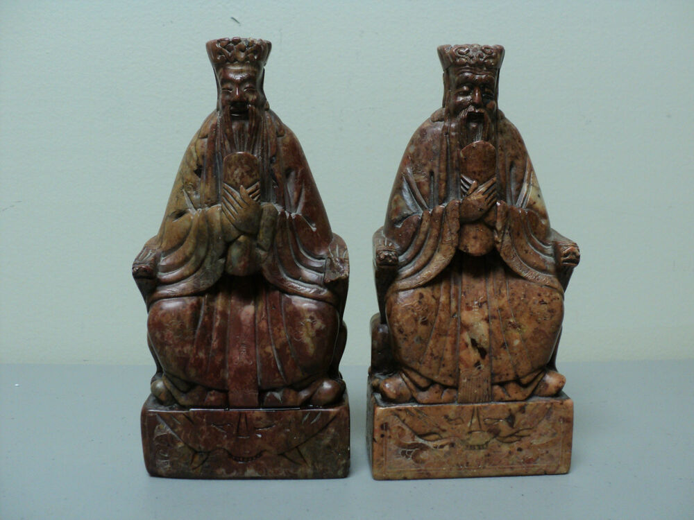 Unusual pair of antique chinese hand carved soapstone